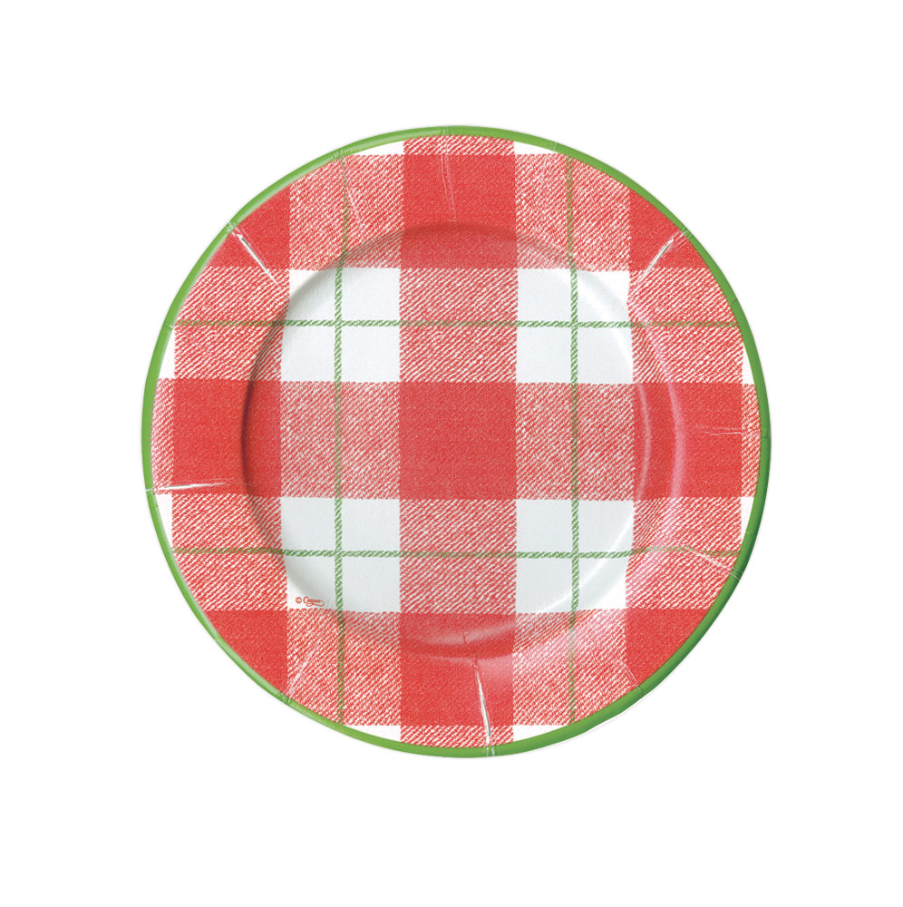 Paper Salad & Dessert Plates in Red from Caspari