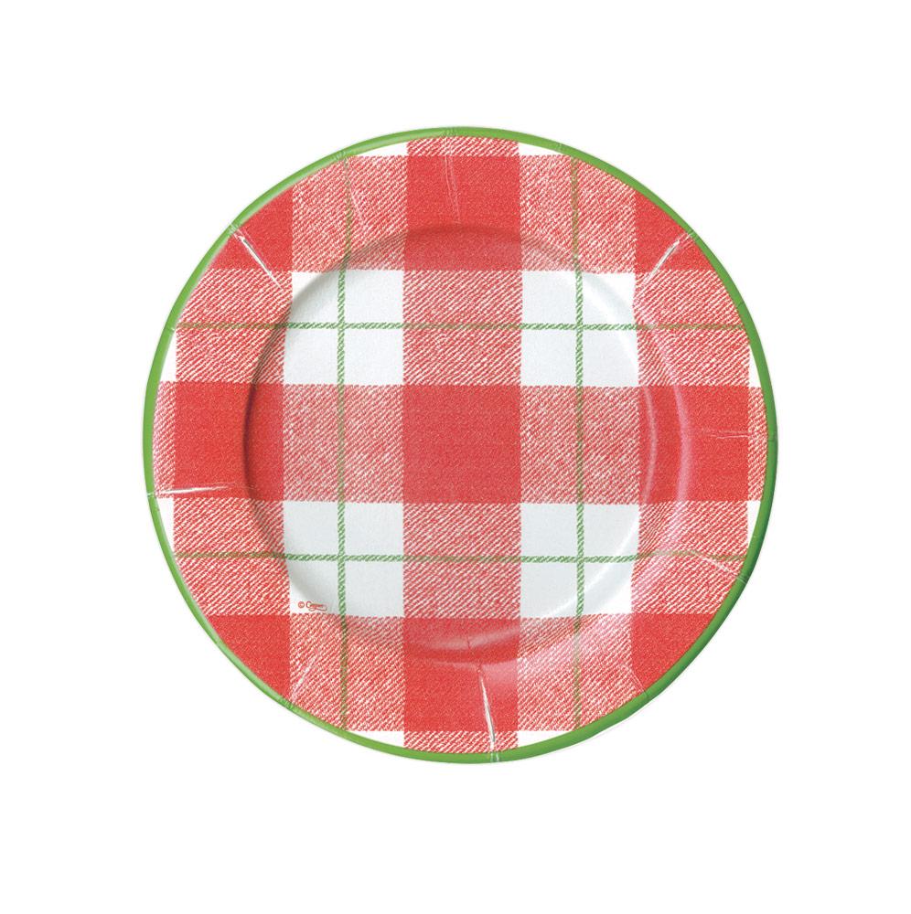 Paper Salad & Dessert Plates in Red from Caspari