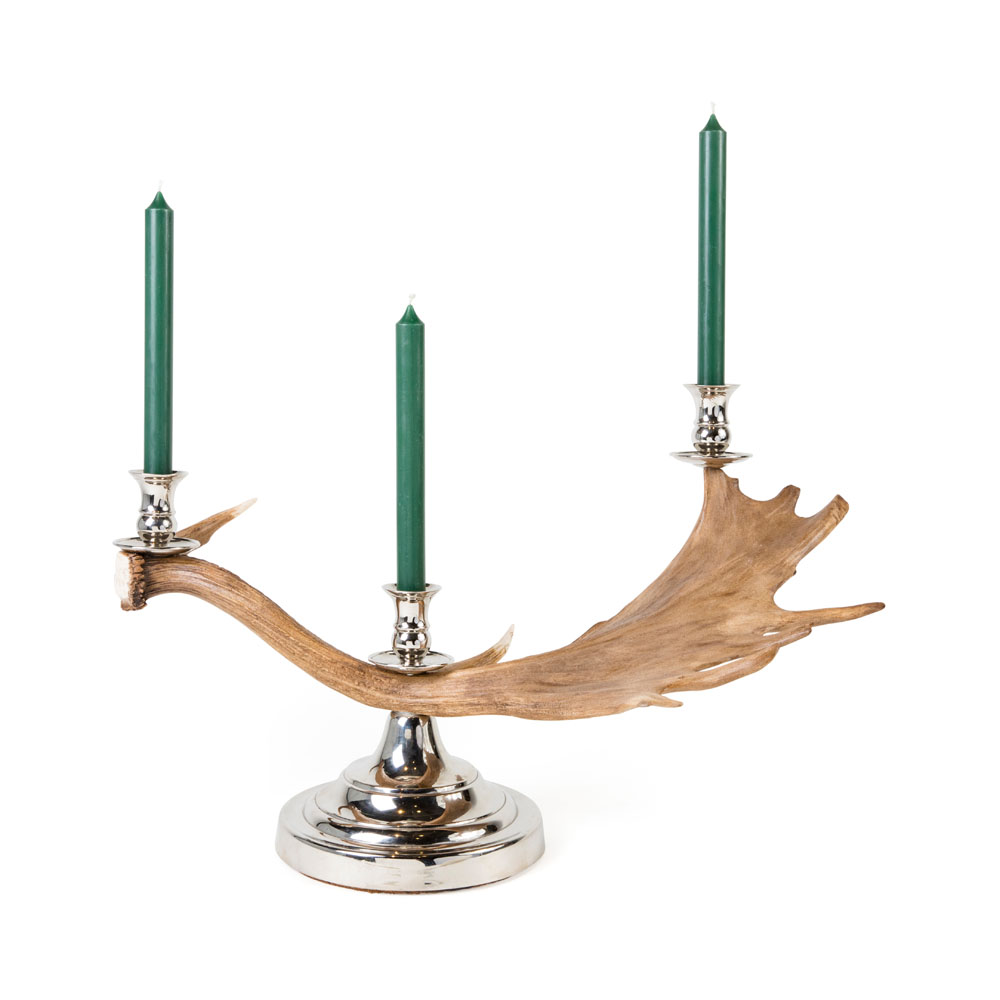 Red Deer Antler Silver Plated Candle Stick from Caspari