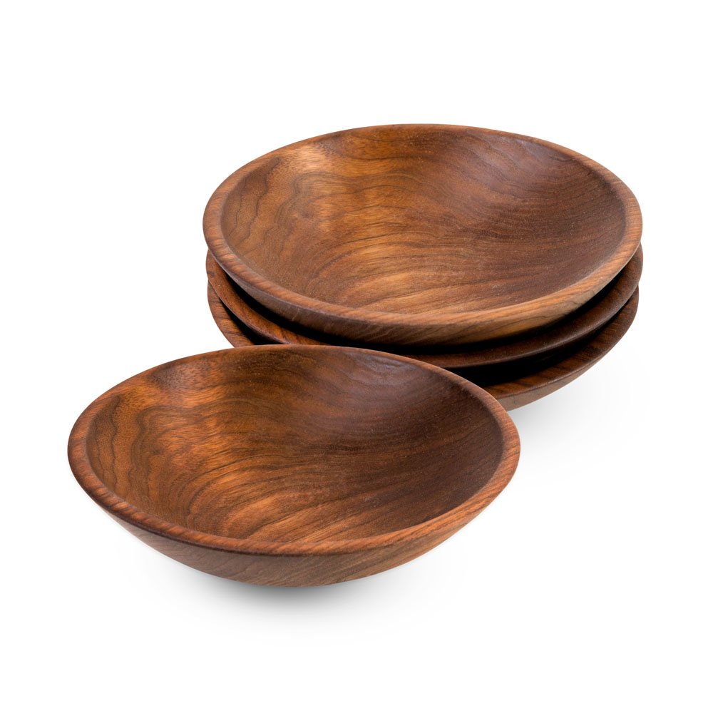Wooden Champlain Bowls in Black Walnut  from Caspari