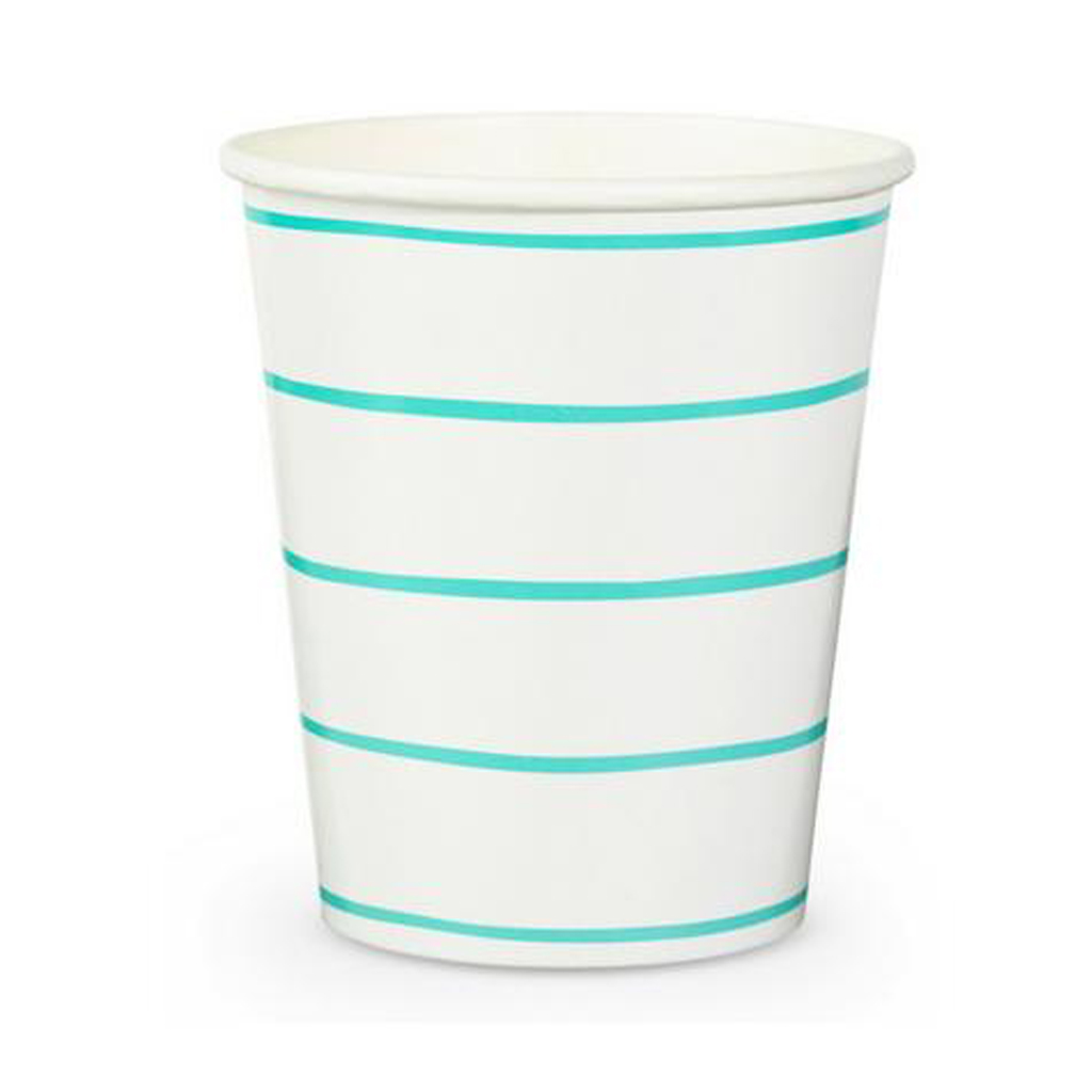 Mint Striped Cups from Geese & Ganders