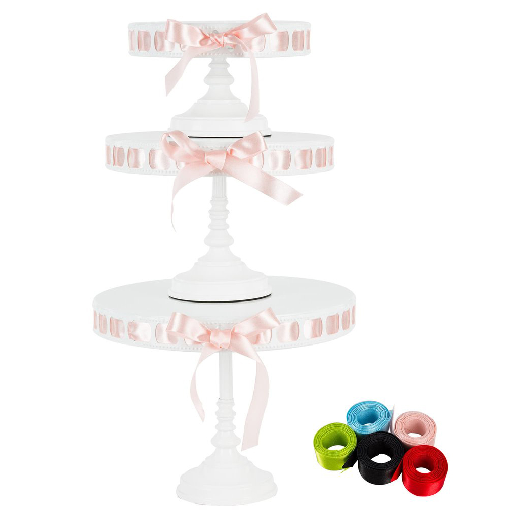 3-Piece Tall Metal Ribbon Cake Stand Set