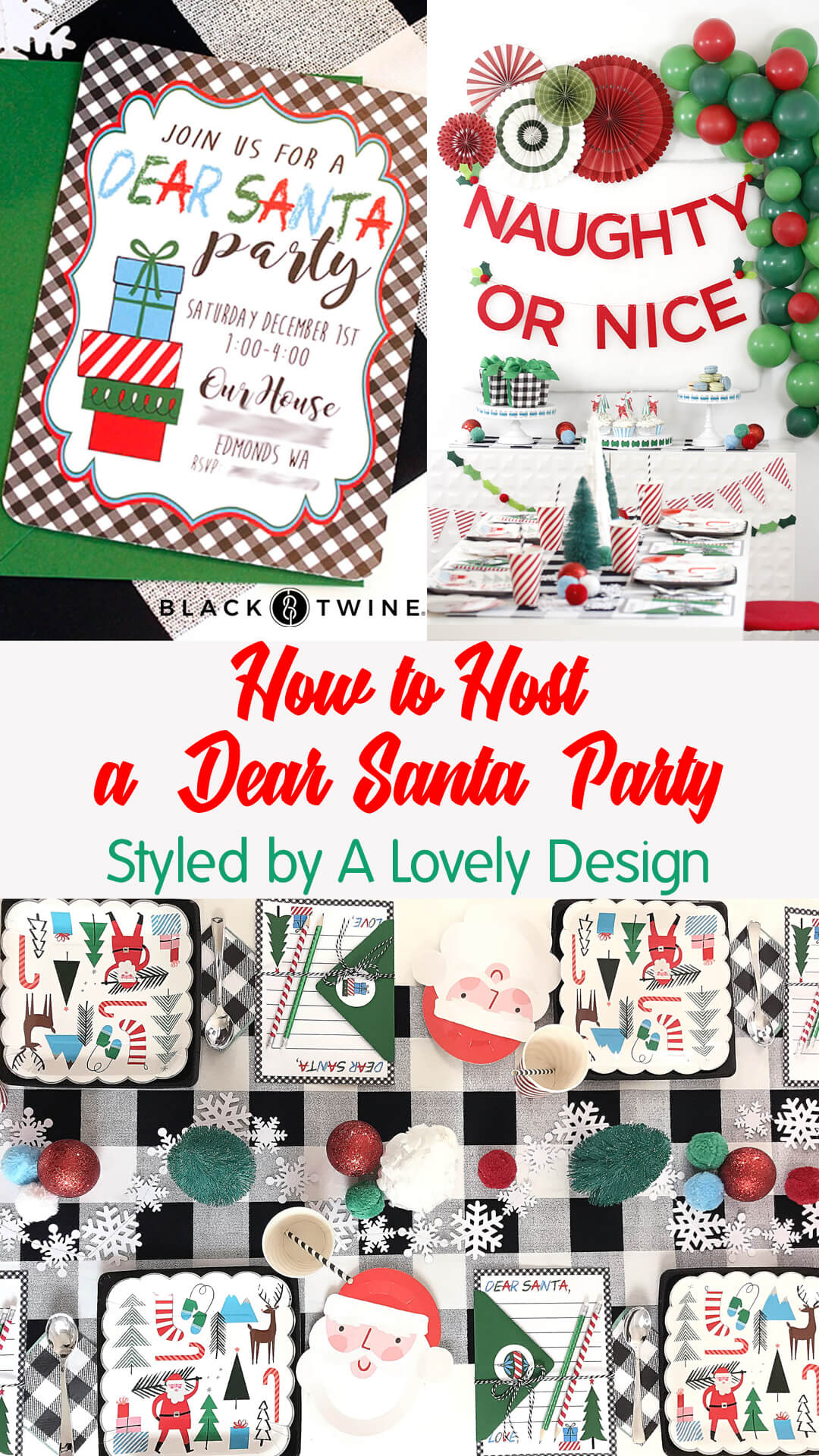 "Invitation, Tablescape and Place Setting from ""Dear Santa"" Party Styled by A Lovely Design 