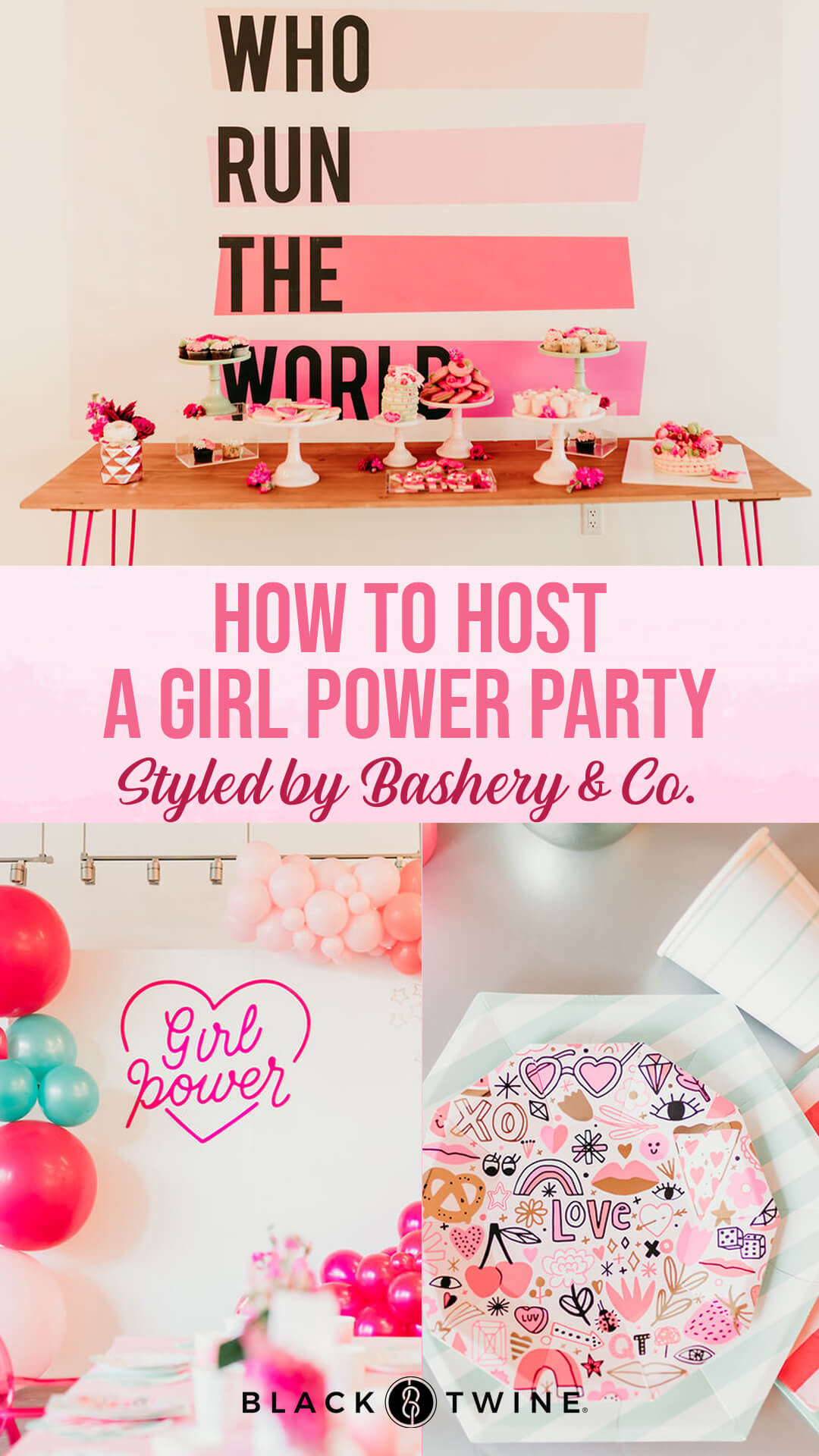 Tablescape, Place Setting and Girl Power Sign from Girl Power Party Styled by Bashery & Co. | Black Twine