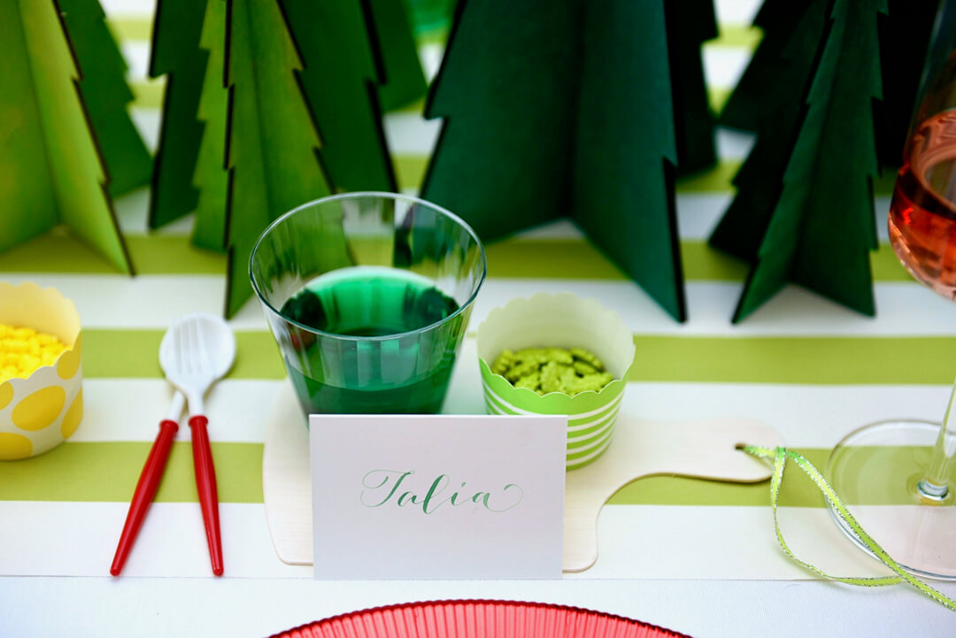 Green Treat with Name Card from Rainbow Christmas Dinner Party Featuring Sophistiplate Styled by Table + Dine | Black Twine