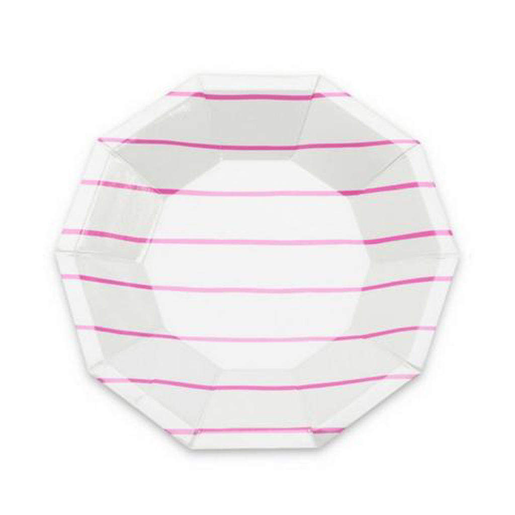 Pink striped plates  from Geese & Ganders