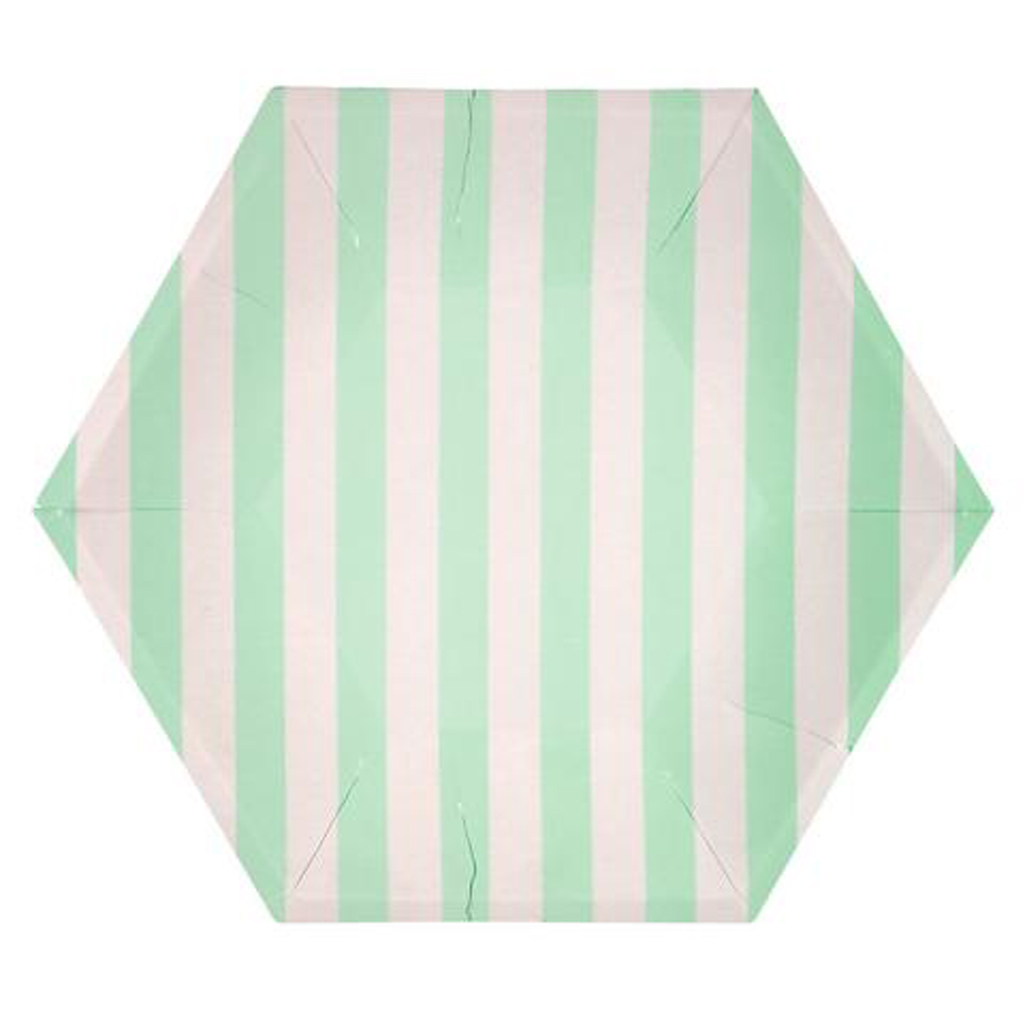 Mint striped plates from Geese & Ganders