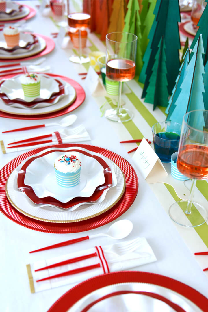 Place Setting from Rainbow Christmas Dinner Party Featuring Sophistiplate Styled by Table + Dine | Black Twine