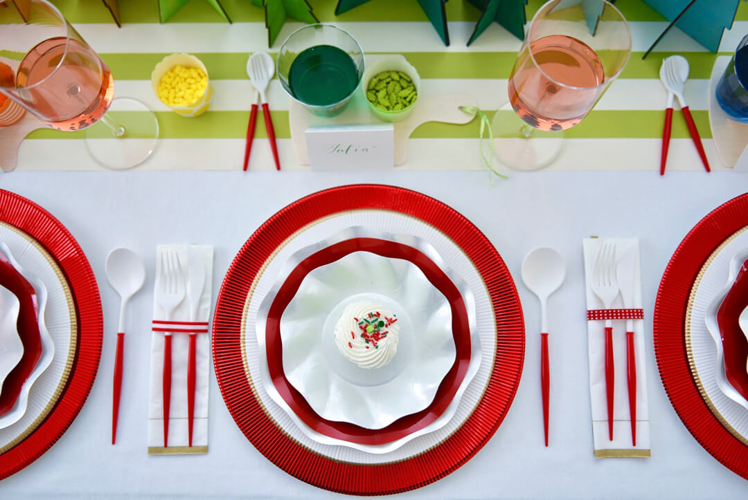 Tablescape from Rainbow Christmas Dinner Party Featuring Sophistiplate Styled by Table + Dine | Black Twine
