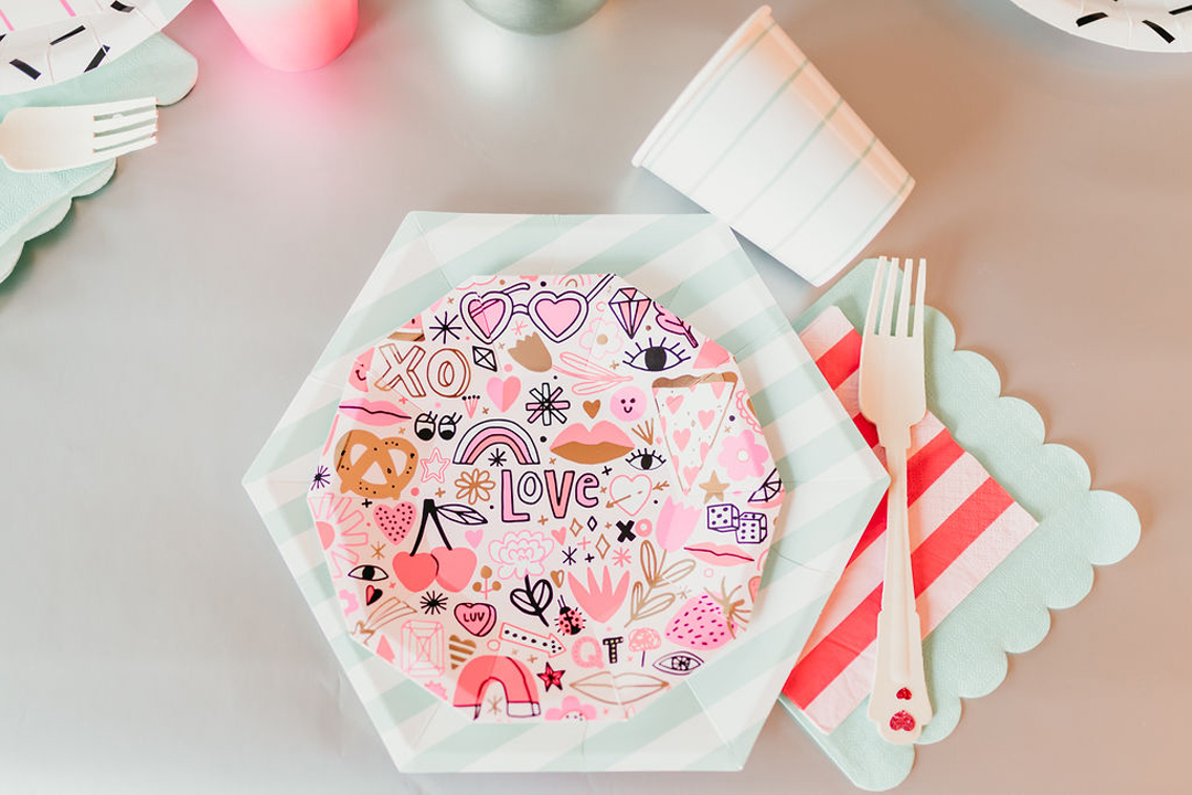 Place Setting from Girl Power Party Styled by Bashery & Co.   Black Twine