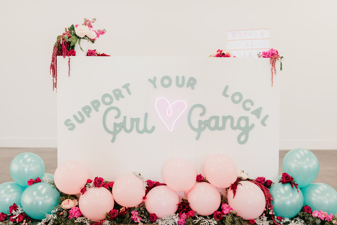"""Support Your Local Local Girl Gang"" Sign from Girl Power Party Styled by Bashery & Co. 