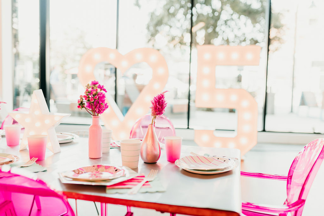 Tablescape, Florals from Girl Power Party Styled by Bashery & Co. | Black Twine