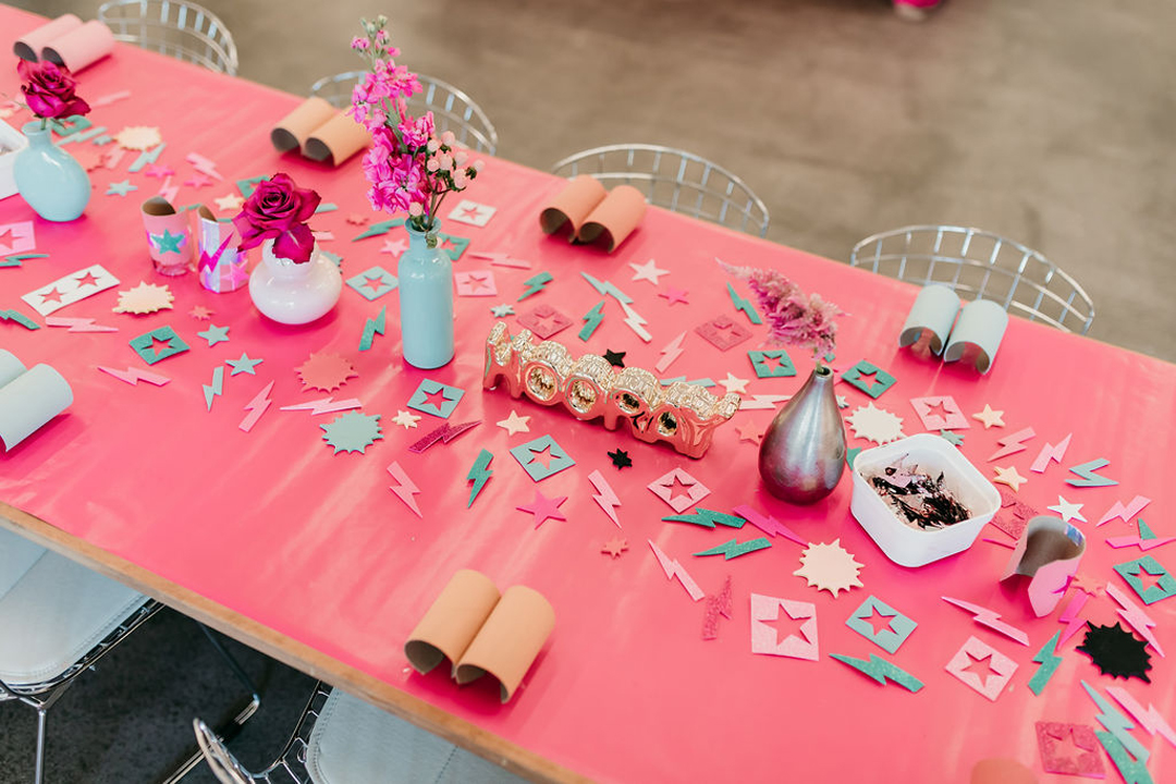 Tablescape from Girl Power Party Styled by Bashery & Co.   Black Twine