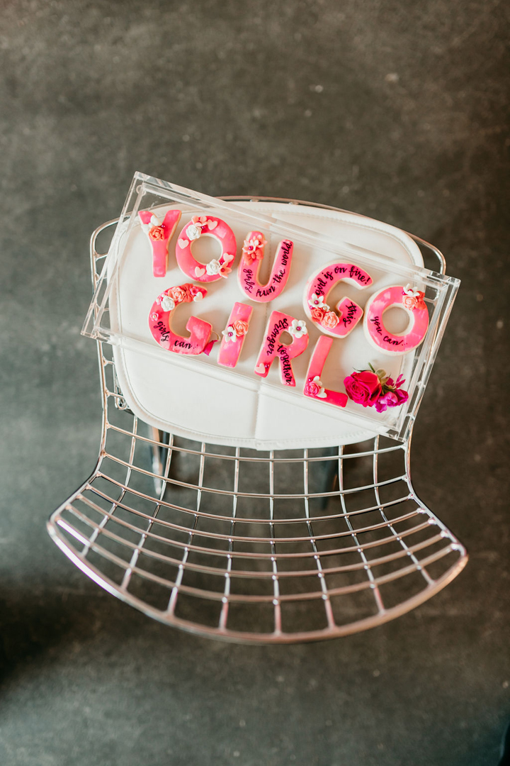 """You Go Girl"" Dessert from Girl Power Party Styled by Bashery & Co. 