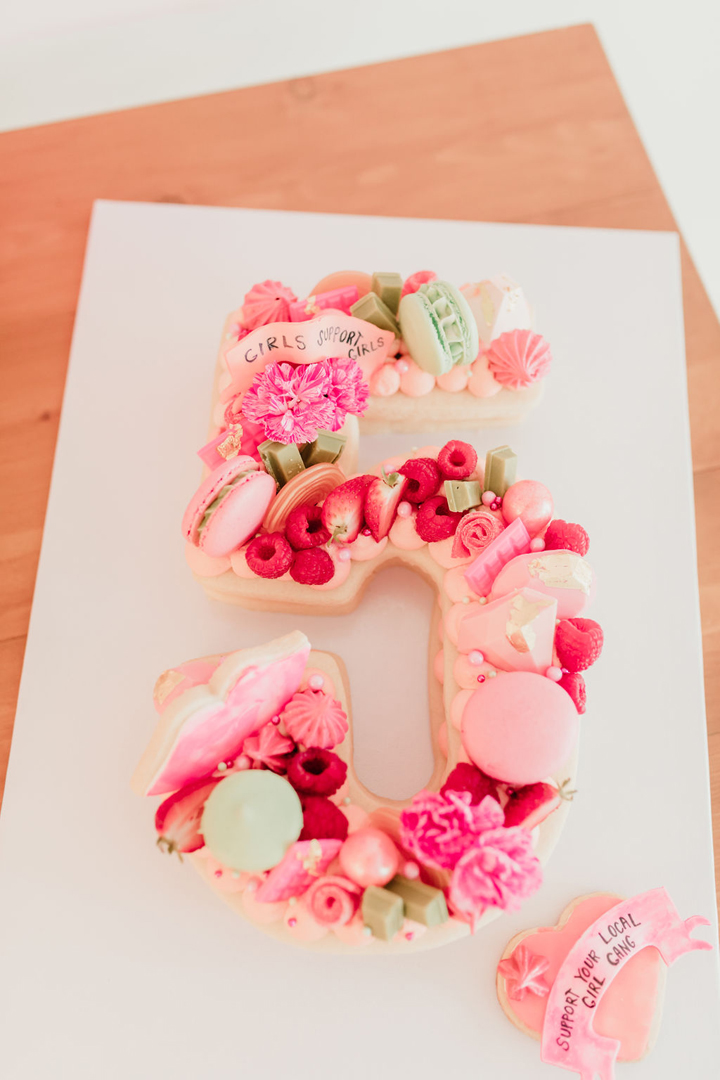 Five-shaped Cake from Girl Power Party Styled by Bashery & Co. | Black Twine