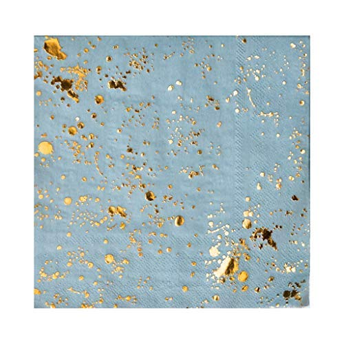 Blue with Gold Splash Napkins from Harlow & Grey