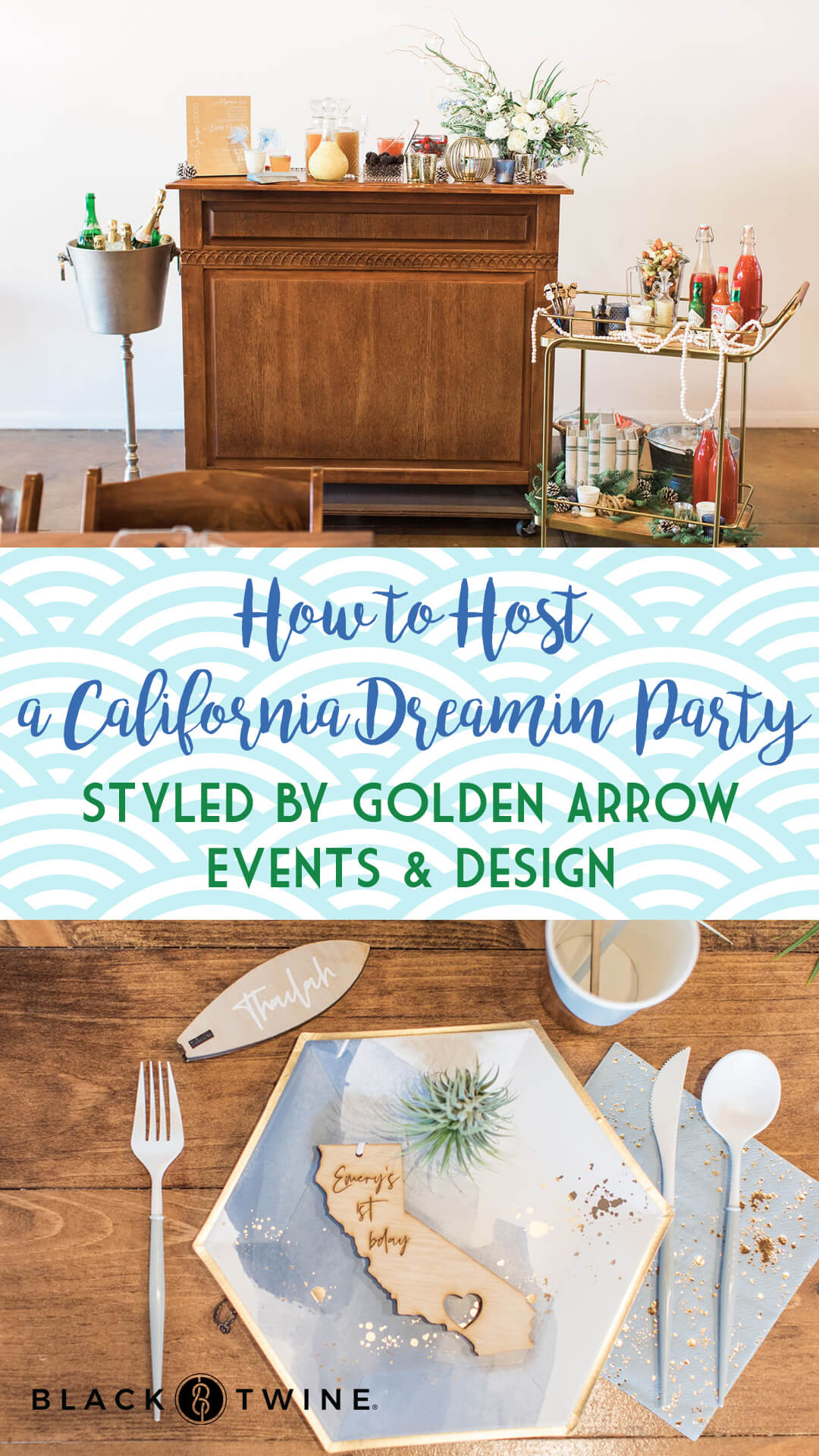 Mini Bar and Place Setting from California Dreamin' Party Styled by Golden Arrow Events & Design