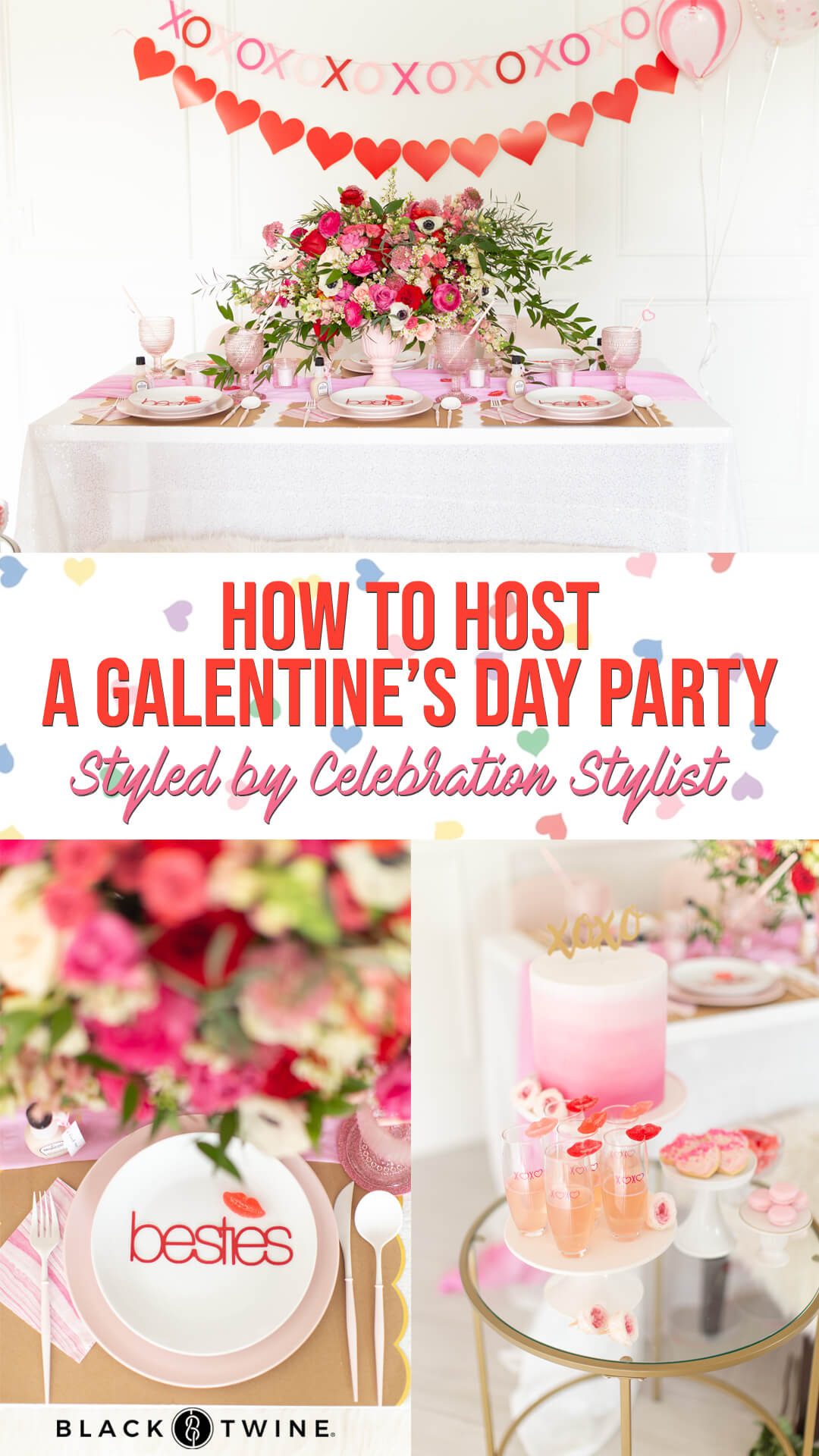 Tablescape, Place Setting and Dessert Table from Galentine's Day Party Styled by Celebration Stylist | Black Twine