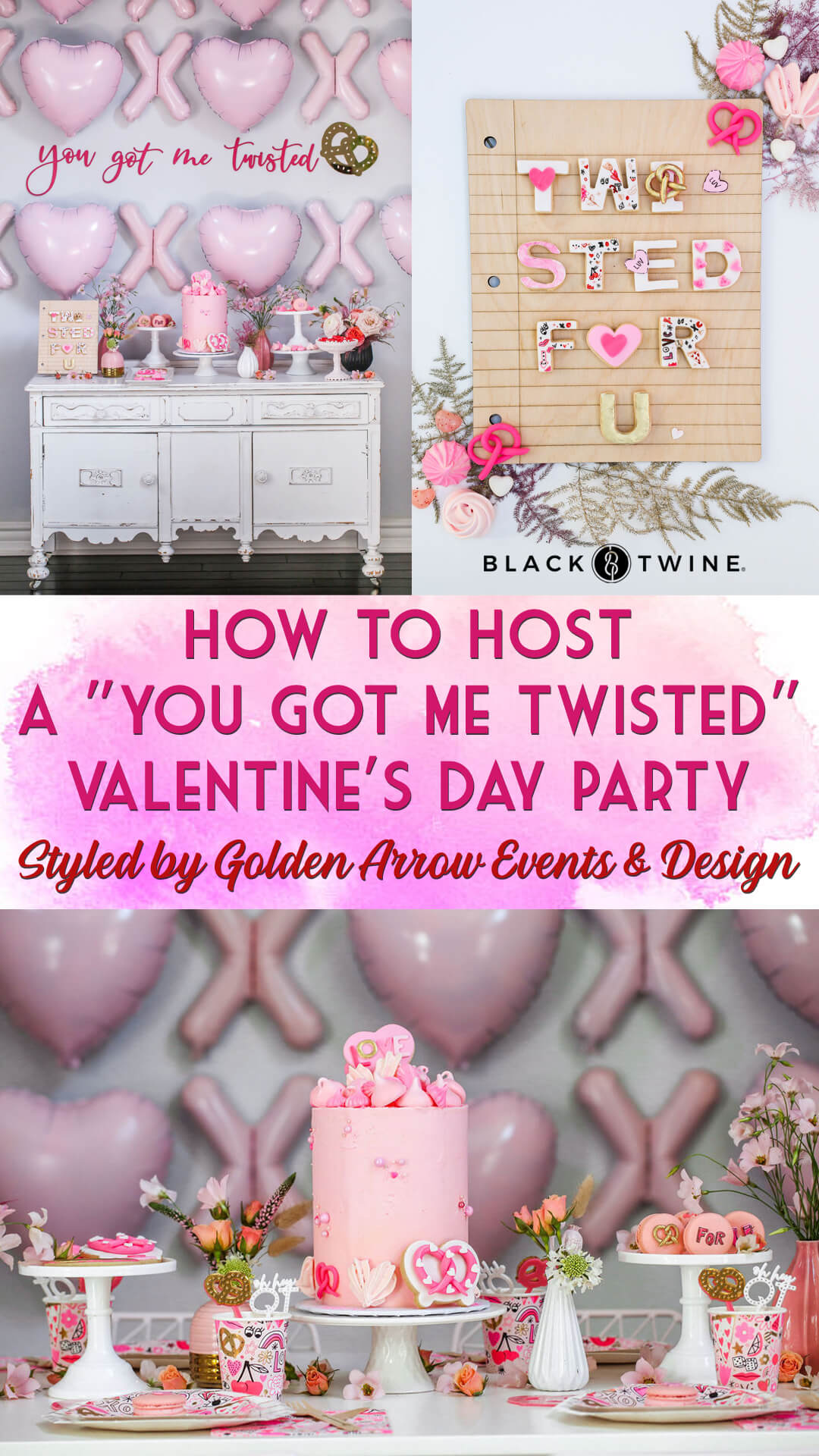 """Tablescape and """"Twisted For U"""" Cookies from """"You Got Me Twisted"""" Valentine's Day Party Styled by Golden Arrow Events & Design   Black Twine"""