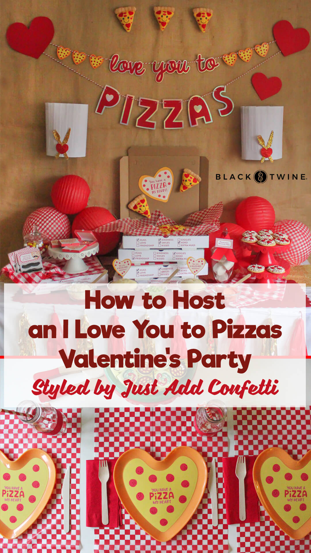 Blueprint Collage from I Love You to Pizzas Valentine's Party Styled by Just Add Confetti | Black Twine