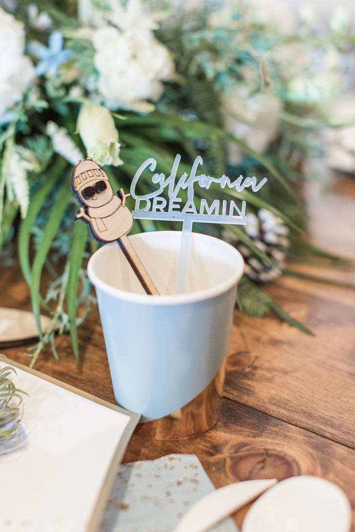Blue Cup, Snowman Stirrer and California Dreamin Stirrer from California Dreamin' Party Styled by Golden Arrow Events & Design