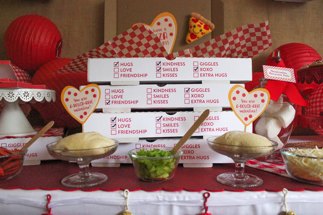 Pizza Dough, Boxes and Pizza Toppings from I Love You to Pizzas Valentine's Party Styled by Just Add Confetti | Black Twine