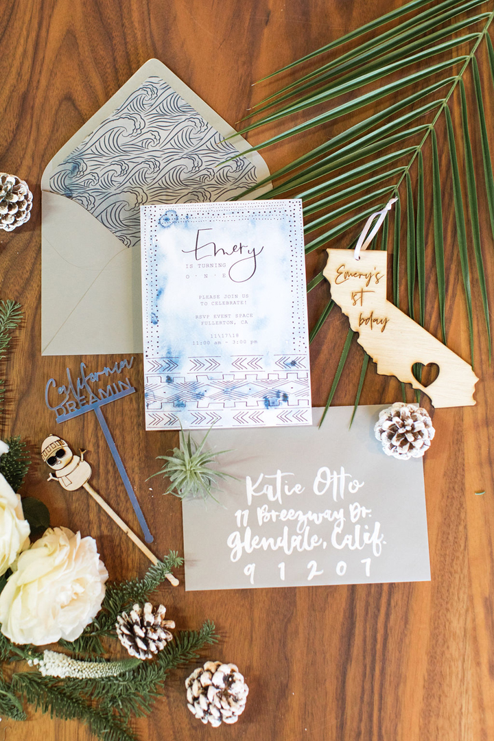 Invitations from California Dreamin' Party Styled by Golden Arrow Events & Design