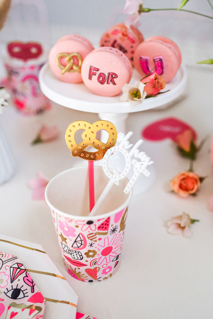 "Love Notes Cup, Drink Stirrer from ""You Got Me Twisted"" Valentine's Day Party Styled by Golden Arrow Events & Design 