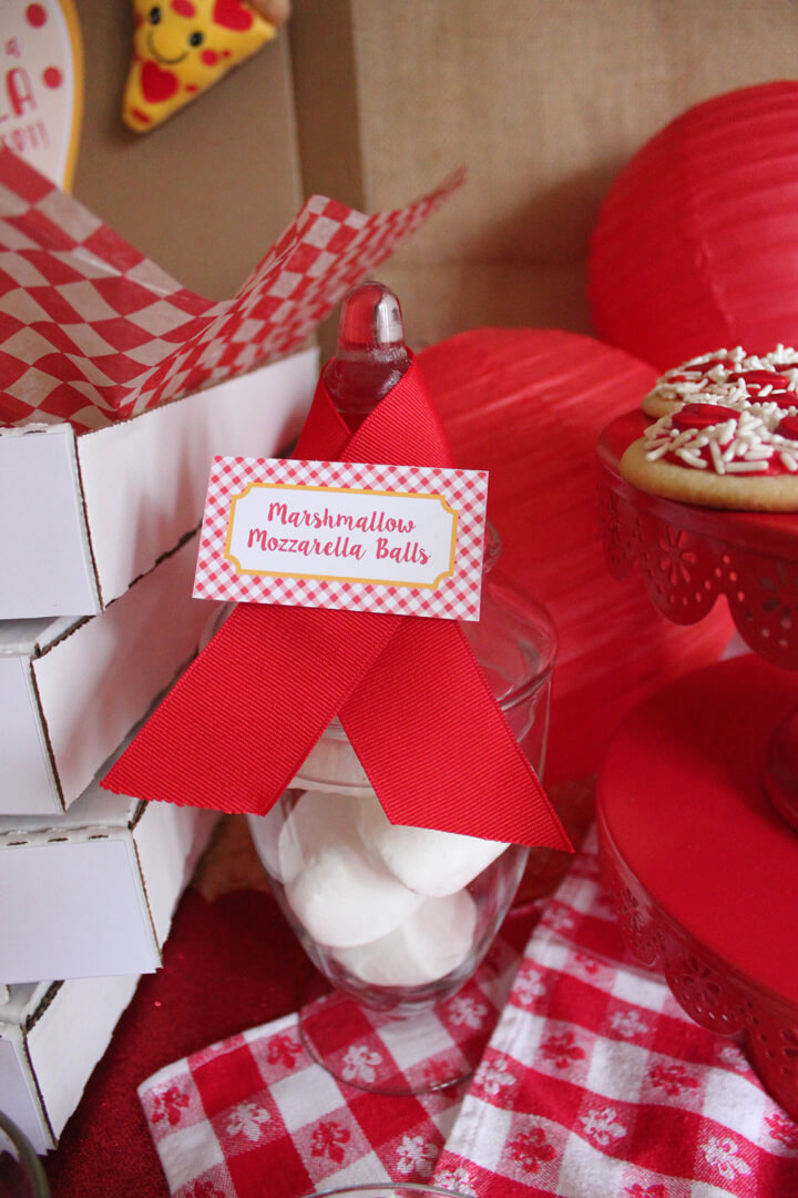 Marshmallow Mozzarella Balls from I Love You to Pizzas Valentine's Party Styled by Just Add Confetti   Black Twine