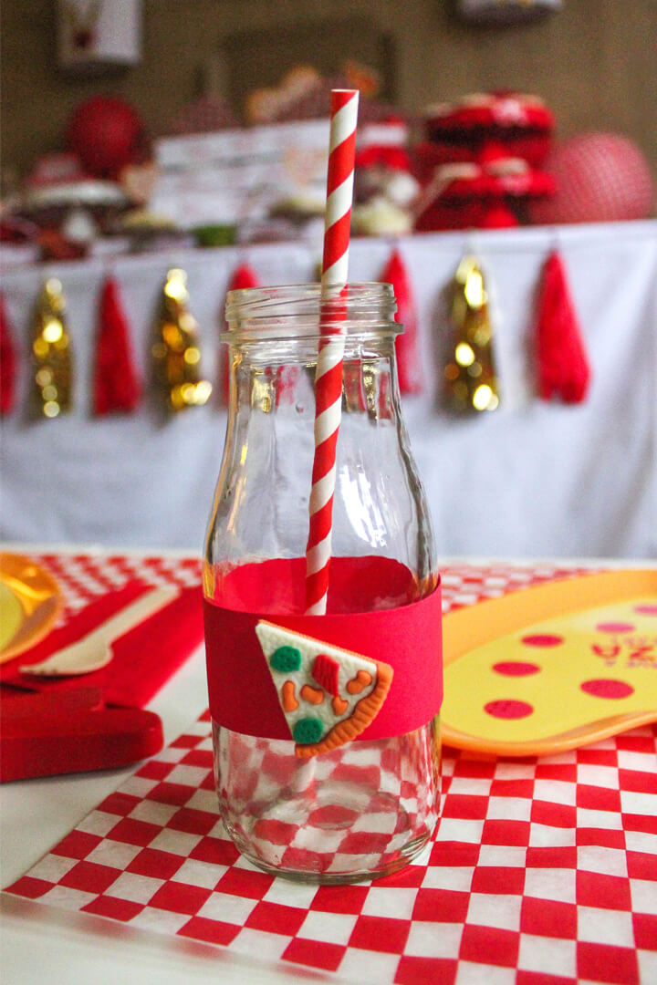 Milk Bottles from I Love You to Pizzas Valentine's Party Styled by Just Add Confetti | Black Twine