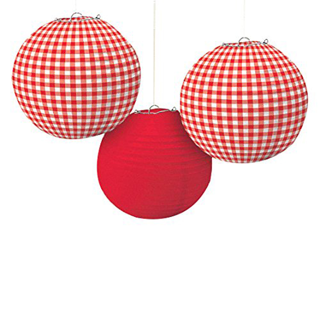 Red and Gingham Paper Lanterns