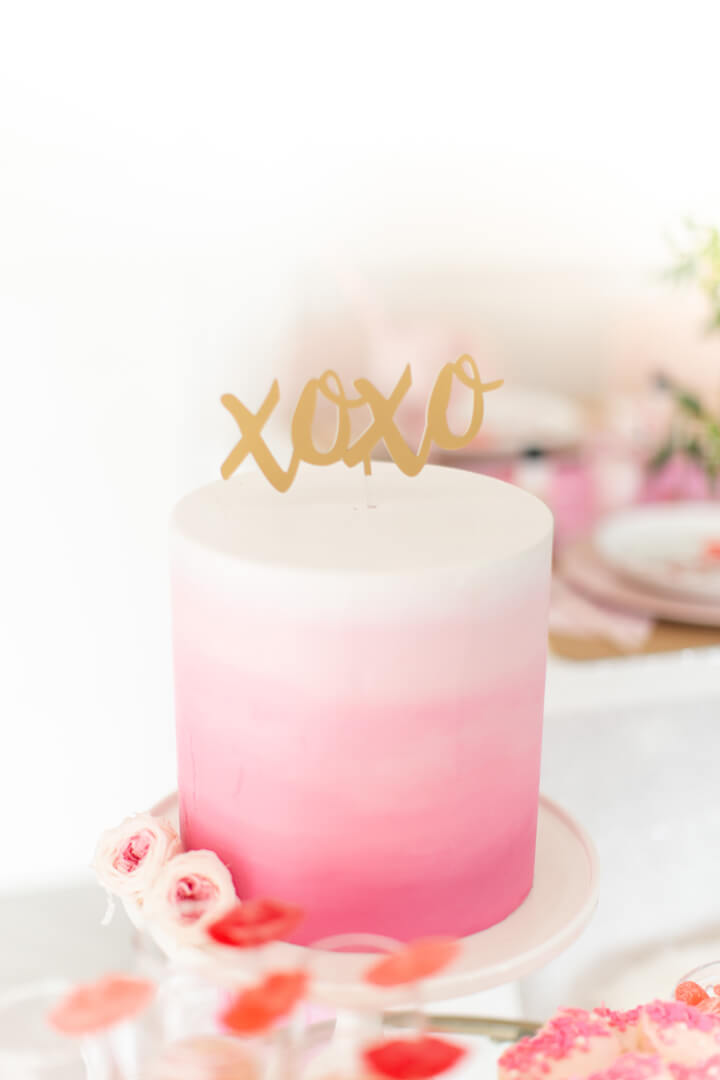 Pink Ombre Cake with XOXO Cake Topper from Galentine's Day Party Styled by Celebration Stylist | Black Twine