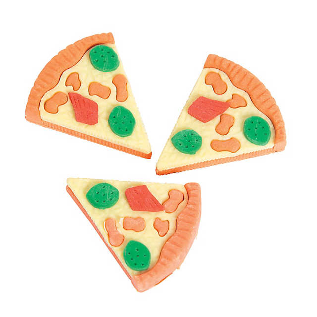 Pizza Erasers from Oriental Trading