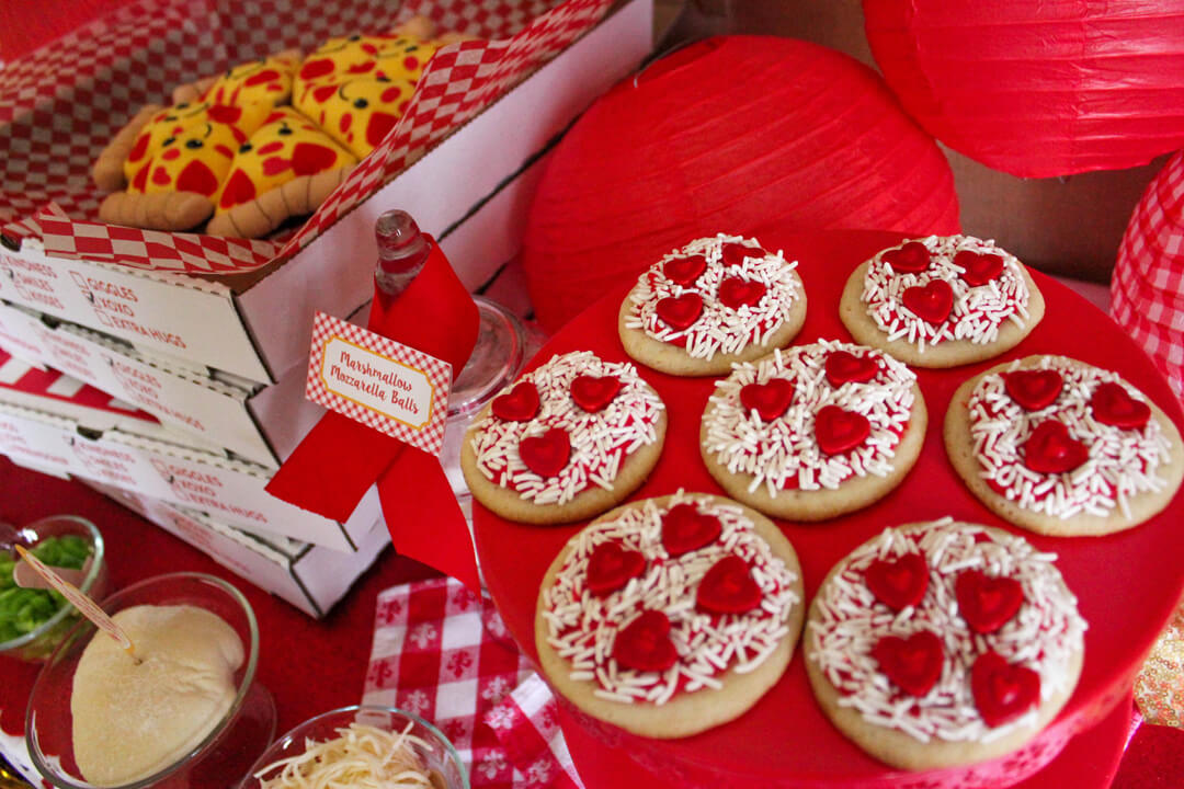 Baked Pizza Cookies from I Love You to Pizzas Valentine's Party Styled by Just Add Confetti | Black Twine