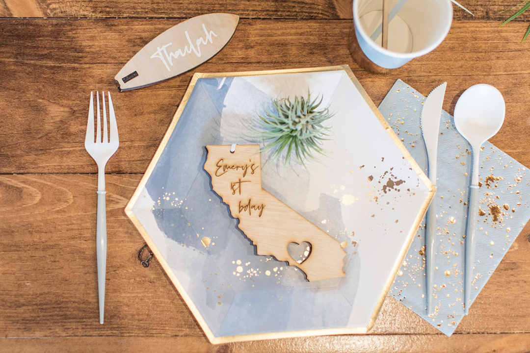 Place Setting from California Dreamin' Party Styled by Golden Arrow Events & Design