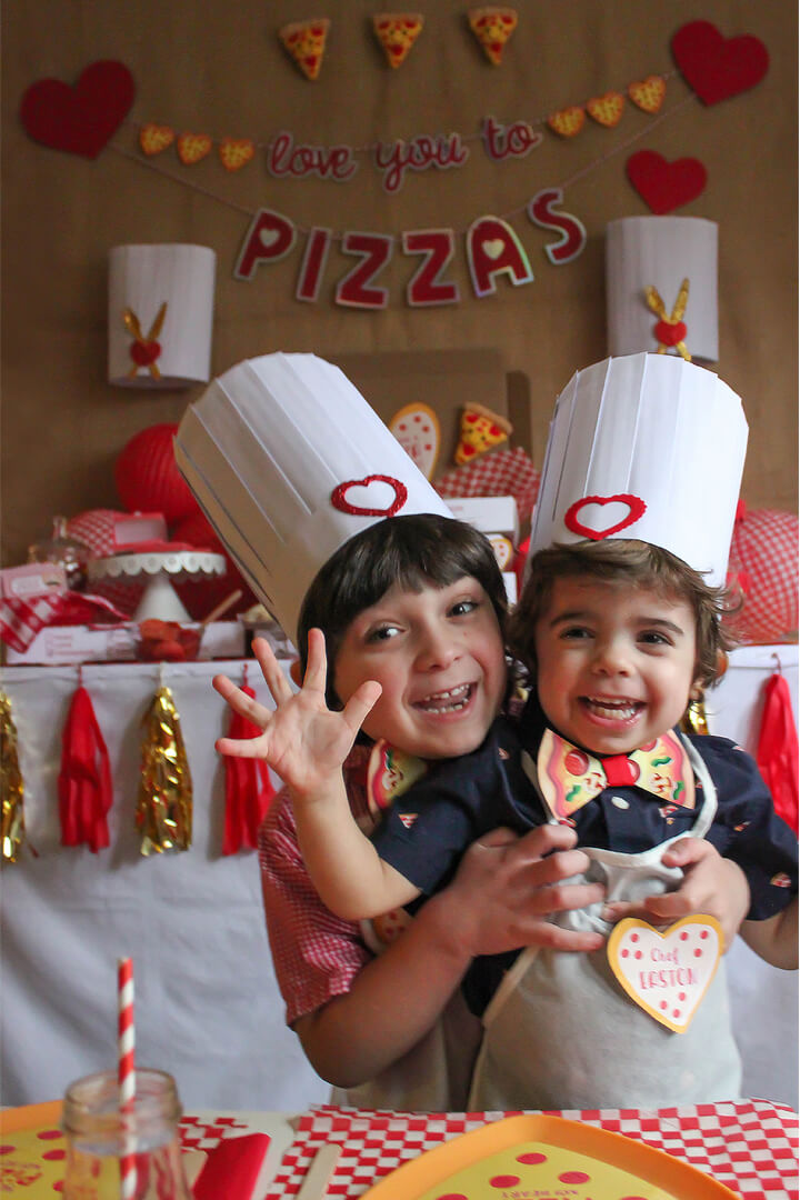 Sawyer and Easton from I Love You to Pizzas Valentine's Party Styled by Just Add Confetti | Black Twine