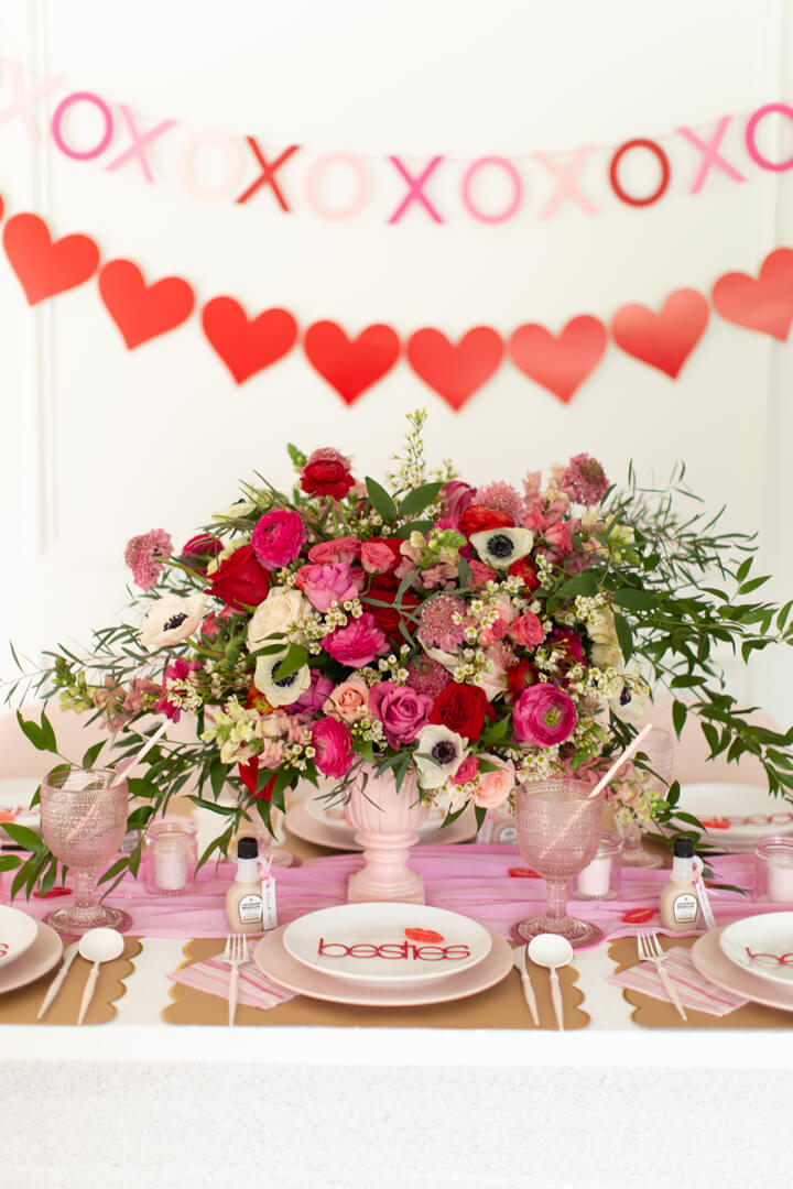 Tablescape and Place Setting from Galentine's Day Party Styled by Celebration Stylist | Black Twine