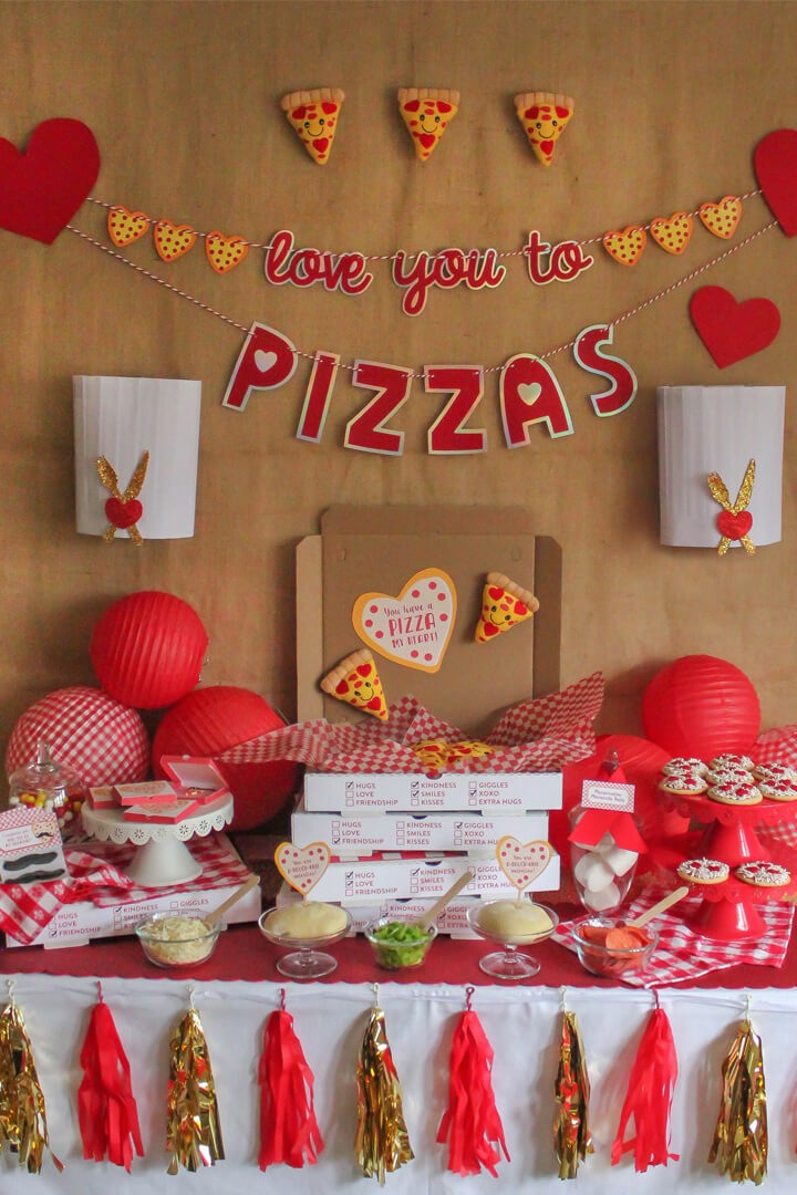 Tablescape from I Love You to Pizzas Valentine's Party Styled by Just Add Confetti | Black Twine