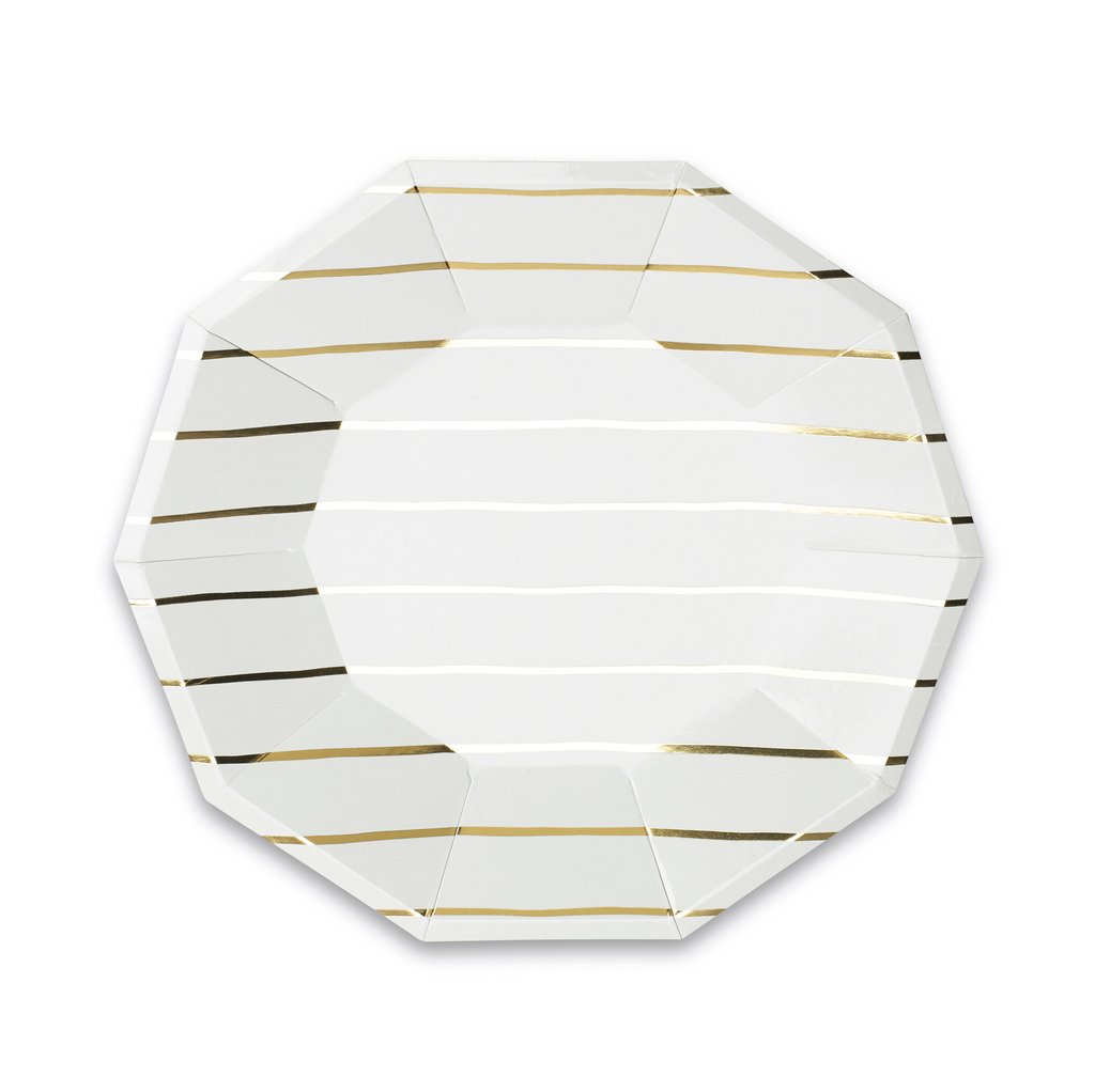 Frenchie Metallic Striped Large Plates from Day Dream Society