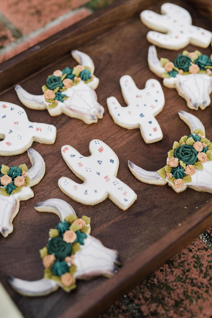 Bull and Cactus Cookies from Stay Wild, My Child Baby Shower by The Revelry Co | Black Twine