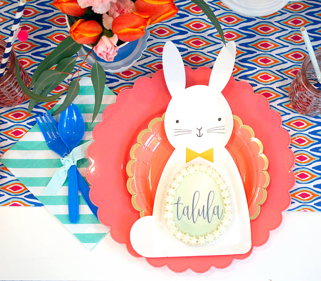Bunny Paper Plate Boho Bunny Easter Party by A Lovely Design | Black Twine