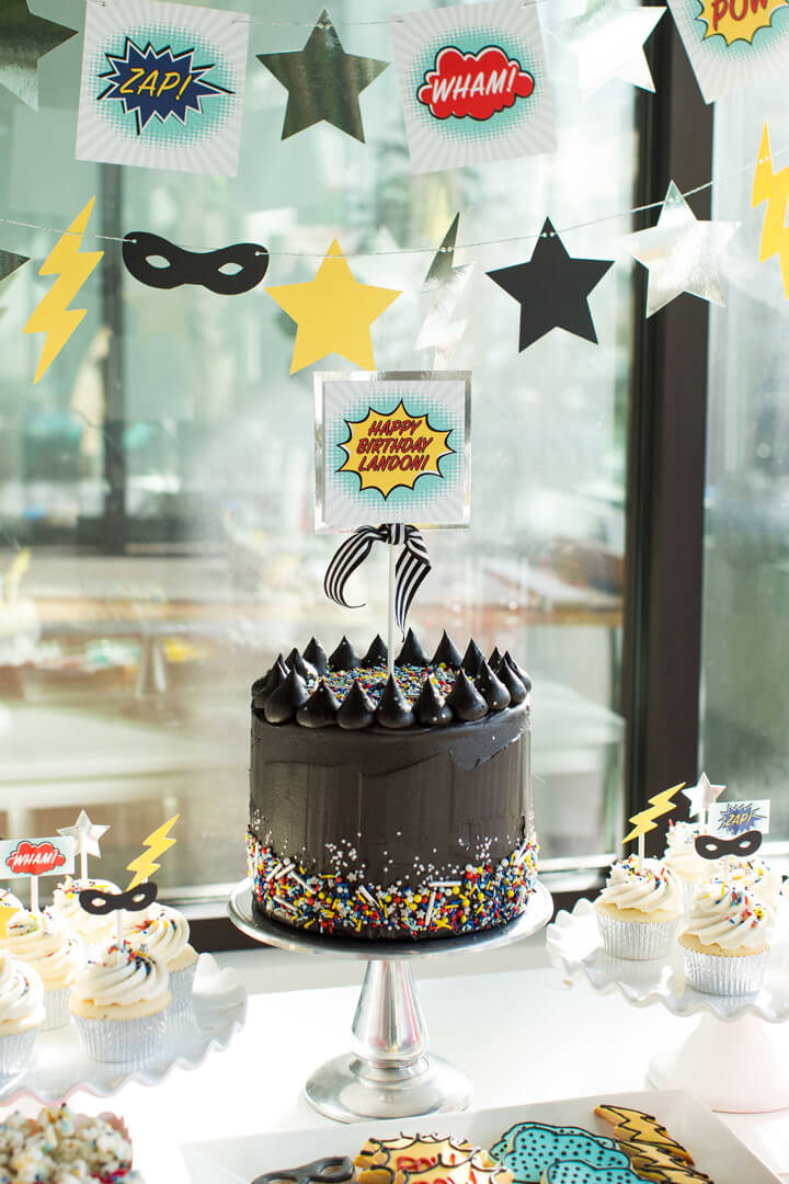 Chocolate Cake from Superhero Party by Kiss Me Kate Studio | Black Twine