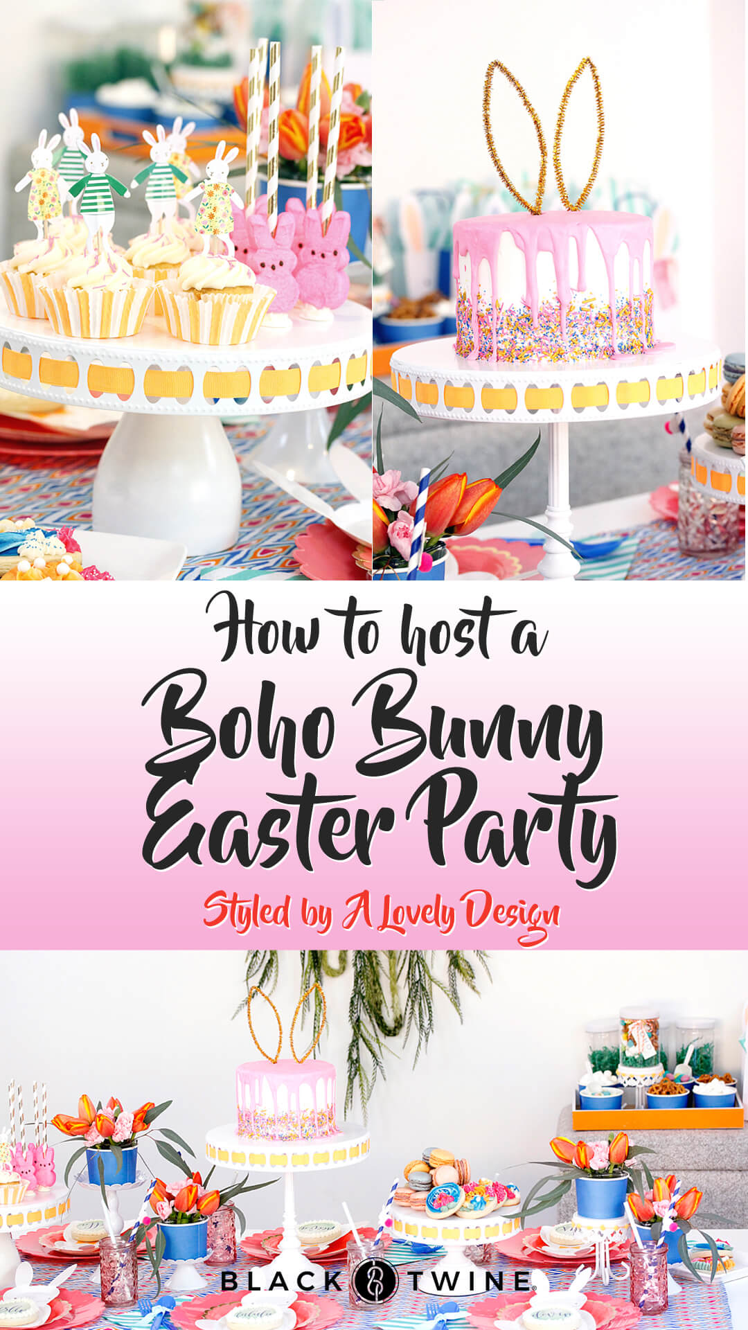 Collage Image Boho Bunny Easter Party by A Lovely Design | Black Twine