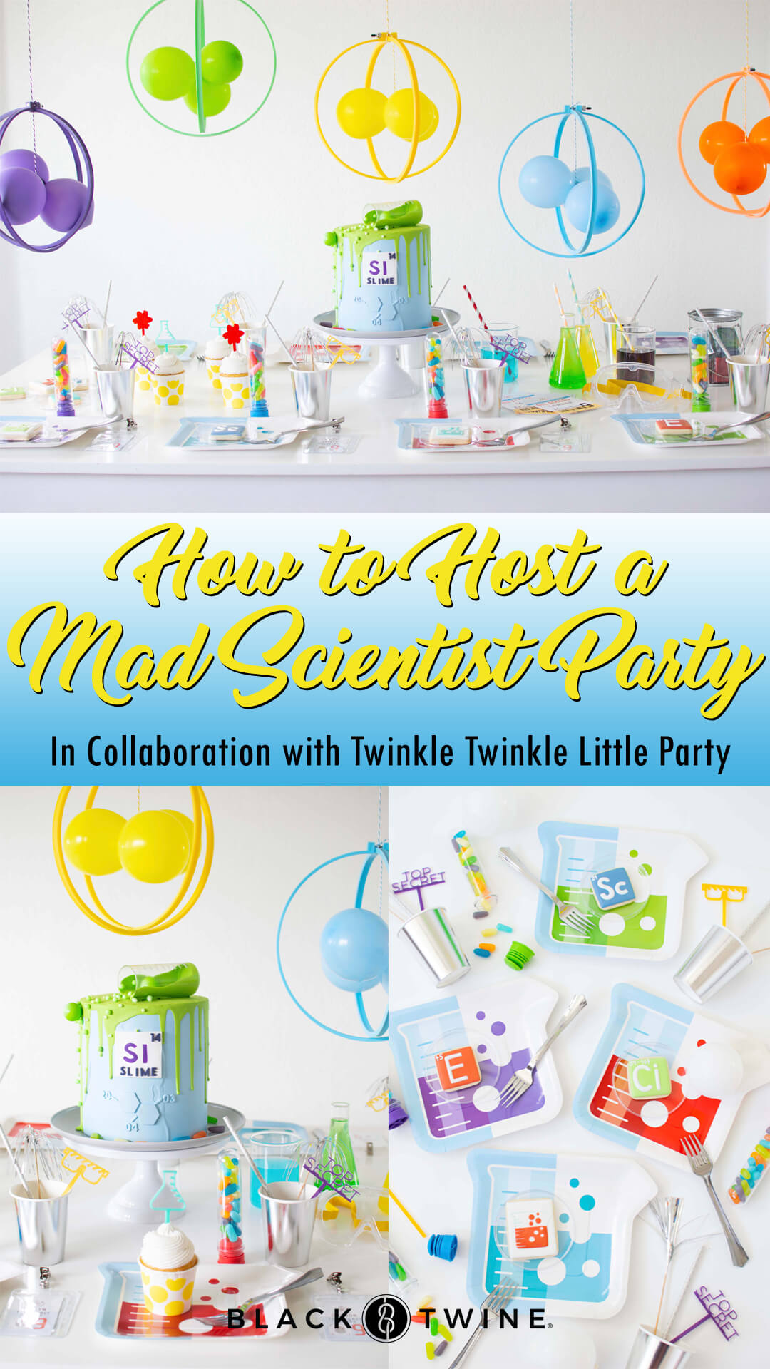 Collage Photo from Mad Scientist Party In Collaboration with Twinkle Twinkle Little Party | Black Twine