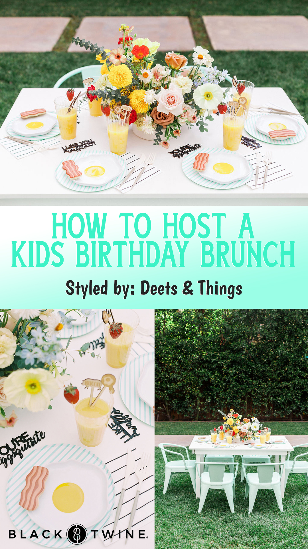 Collage Photos from Kids Birthday Brunch Styled by Deets & Things | Black Twine