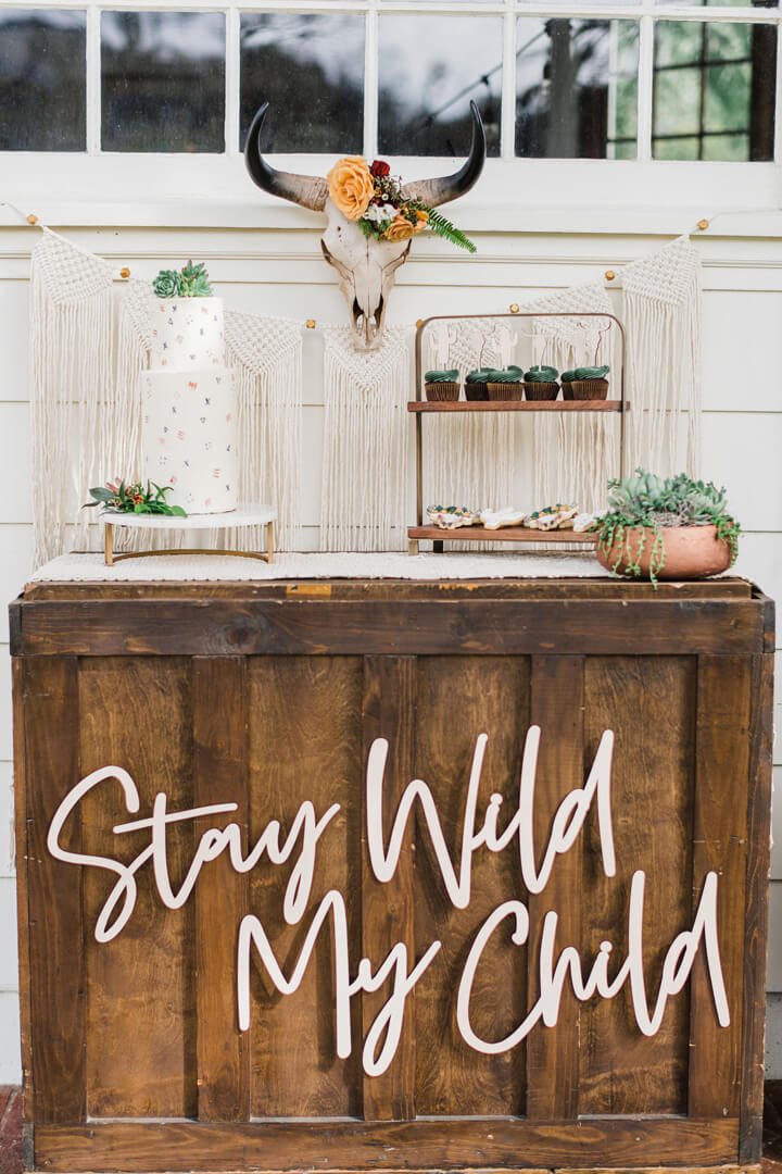 Dessert Table from Stay Wild, My Child Baby Shower by The Revelry Co | Black Twine