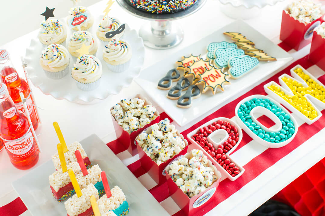 Dessert Table from Superhero Party by Kiss Me Kate Studio | Black Twine