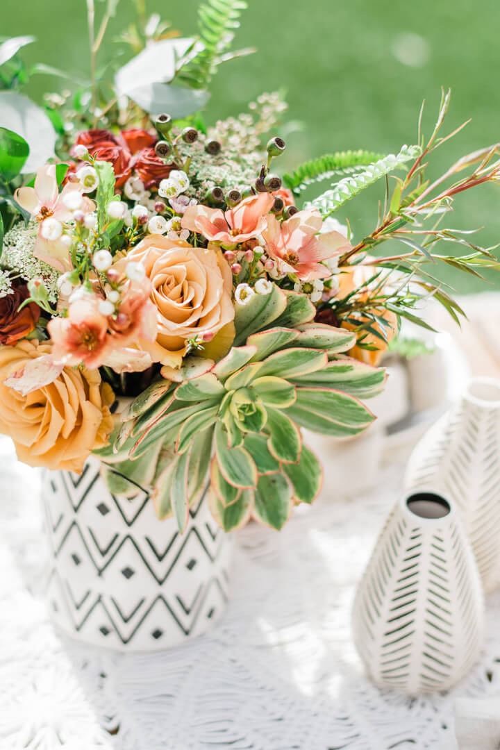 Floral Arrangement from Stay Wild, My Child Baby Shower by The Revelry Co | Black Twine