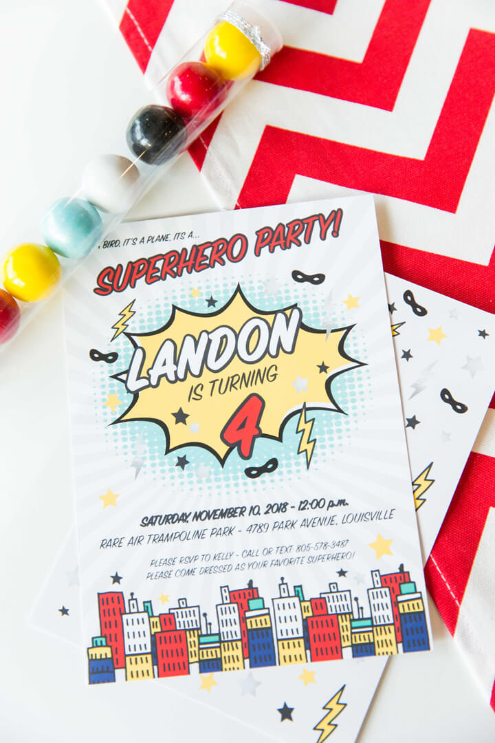 Invatation from Superhero Party by Kiss Me Kate Studio | Black Twine