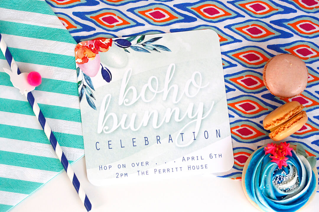 Invitation Boho Bunny Easter Party by A Lovely Design | Black Twine